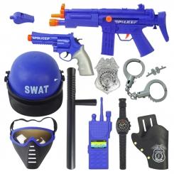 ست 11 تکه تفنگ و کلاه پلیس ویژه ضدشورش JUSTICE FORCE SET WORLD POLICE 34310