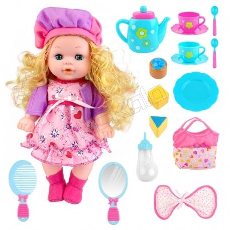 ست عروسک مو طلایی 33 سانتی دستشویی کن بی بی با لوازم آشپزخانه