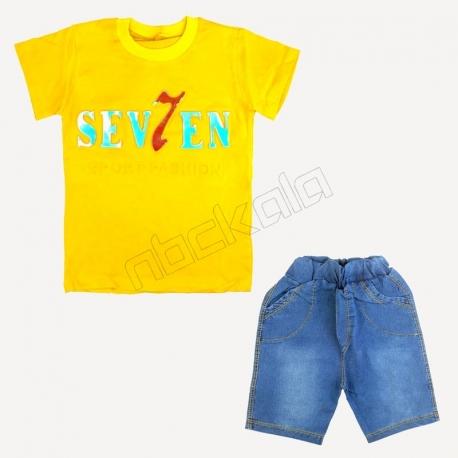 تیشرت و شلوارک پسرانه طرح سون 7 زرد