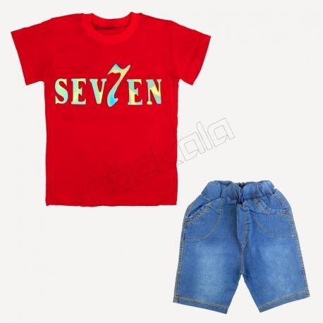 تیشرت و شلوارک پسرانه طرح سون 7 قرمز
