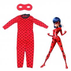 ست لباس دختر کفش دوزکی با نقاب مدل راشا سایز مدیوم M مدل Miraculous Ladybug Girl