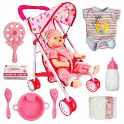 عروسک نوزاد یوکوکا مدل 8011 با کالسکه فلزی و قابلیت پخش صدای نوزاد UKOKA BABY DOLL 8011 WITH PUSHCHAIRE