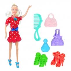 عروسک ست باربی مدل باربی قرمز با کیف و کفش و شانه Barbie Liya Princess Room 2020