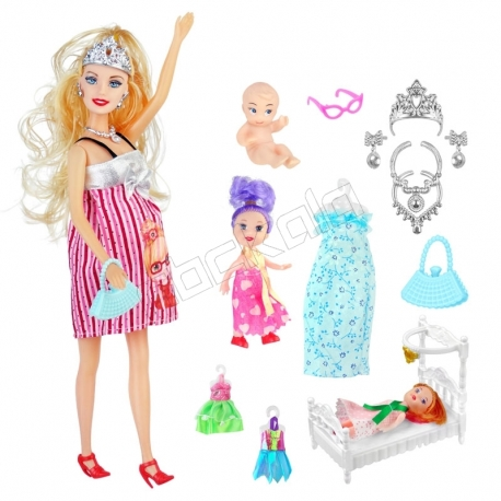 عروسک ست باربی مدل باربی باردار با وسائل و تخت بچه پرگننت ومن Barbie Pregnant Woman No.6007