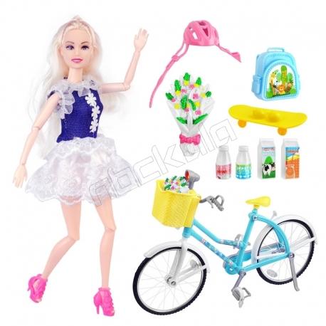 عروسک باربی مفصلی با دوچرخه و وسائل Barbie with Bicycle LE JIN TOYS No.289-3