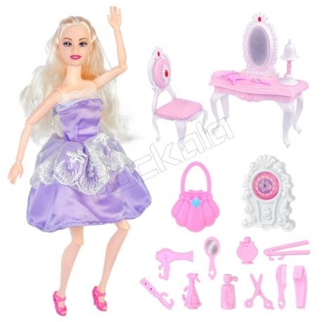 عروسک باربی مفصلی با میز توالت و صندلی و وسائل Barbie with Table & Chair No.289-1