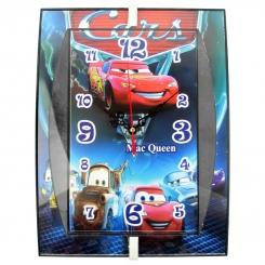 ساعت دیواری کودک طرح مک کویین مدل مستطیل Disney Cars Lighting McQueen Wall Clock