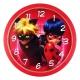 ساعت دیواری کودک طرح دختر کفشدوزکی و گربه سیاه مدل گرد Ladybug Girl and Black Cat Wall Clock