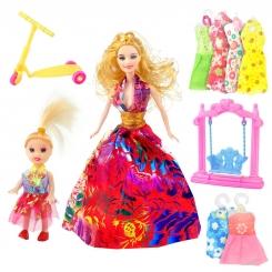 عروسک ست باربی با ست لباس و بچه و تاب و اسکوتر باربی چند رنگ ELEGANT Barbie No.053