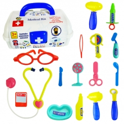 ست دکتری با 16 عدد ابزار پزشکی به همراه جعبه پزشکی