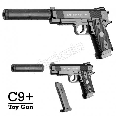 کلت فلزی ایر سافت گان ساچمه ای سی 9 + با صدا خفه کن مدل AIRSOFT GUN C9+ with Muffler