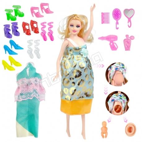 عروسک ست باربی مدل باربی باردار با کفش و لباس Fashion Pregnant Barbie With Shoes No.1005