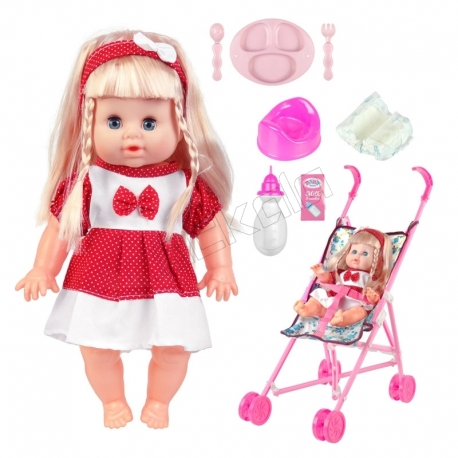 ست عروسک و کالسکه و لوازم عروسک دستشویی کن بی بی بورن لباس قرمز با دامن Baby Born Doll and Pushchair No.MV655