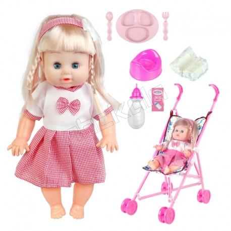 ست عروسک و کالسکه و لوازم عروسک دستشویی کن بی بی بورن لباس صورتی با دامن Baby Born Doll and Pushchair No.MV655