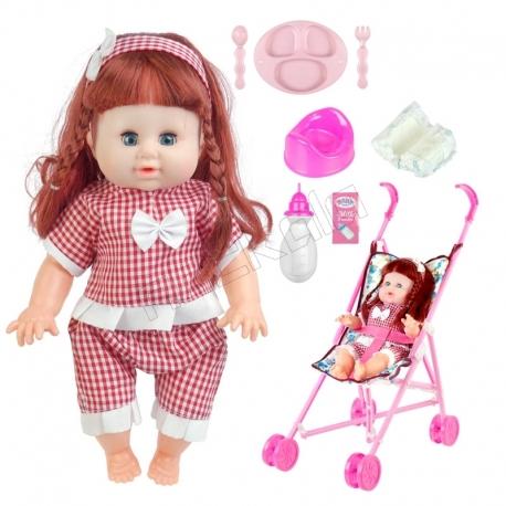 ست عروسک و کالسکه و لوازم عروسک دستشویی کن بی بی بورن لباس قرمز با شلوار Baby Born Doll and Pushchair No.MV655