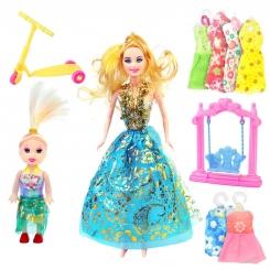 عروسک ست باربی با ست لباس و بچه و تاب و اسکوتر باربی آبی ELEGANT Barbie No.053