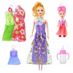 عروسک ست باربی با لباس و شیشه شیر و بچه باربی بنفش Briskness Girls Barbie No.2011A